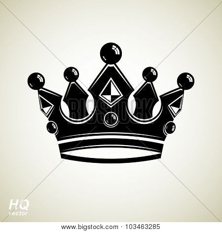 Vector vintage crown, luxury ornate coronet illustration. Royal luxury design element, decorative
