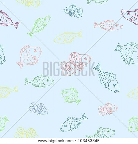 Vector Seamless Pattern With Fishes.