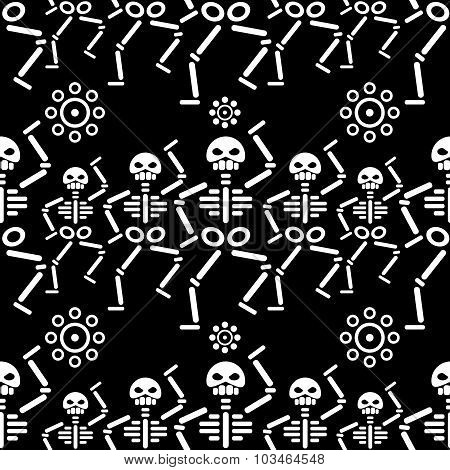 day of death repeating pattern with abstract skeleton and flower
