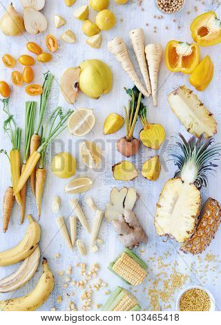 Overhead shot of sliced up yellow raw and organic food