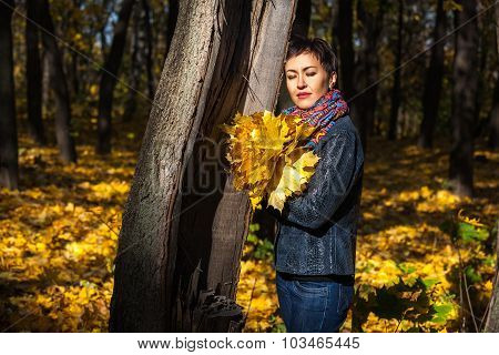 Girl With A Bouquet Of Yellow Leaves In The Park, A Bouquet Of Y