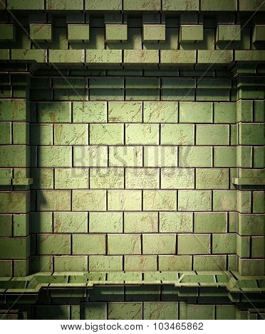 3D Brick Wall, Antique Architecture Background
