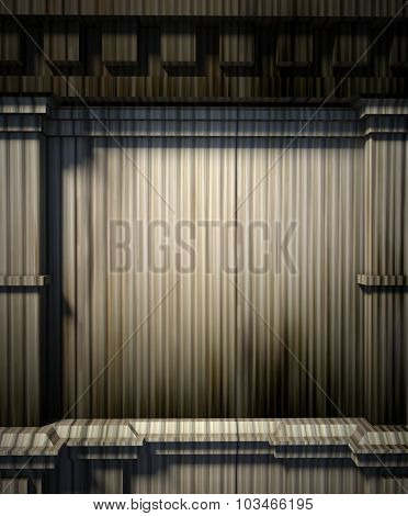 3D Metal Wall, Antique Architecture Background