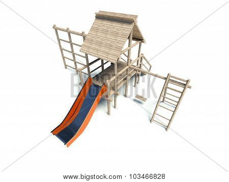 Playground Without Children, Isolated On White