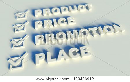 3D Marketing Mix Concept With Keywords