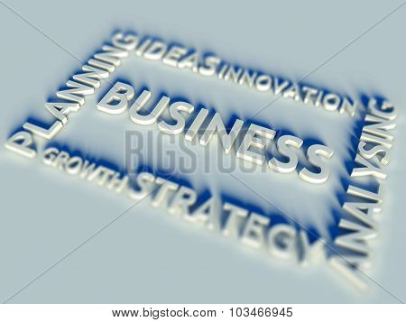 3D Business Text Table And Analysing