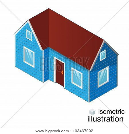 Isometric Blue House, Cottage Isolated On A White Background