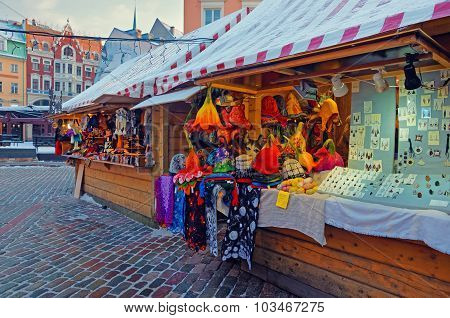 Christmas Market Stall In Riga With Lovely Souvenirs Displayed For Sale