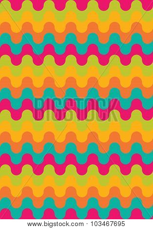 Vector Modern Seamless Colorful Geometry Pattern, Waved Lines