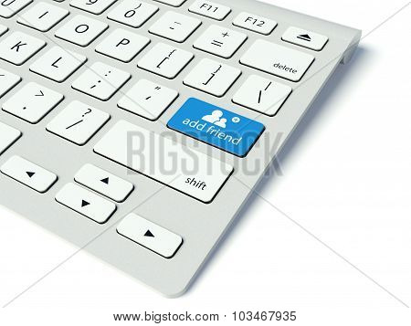 Keyboard And Add Friend Button, Social Network Concept