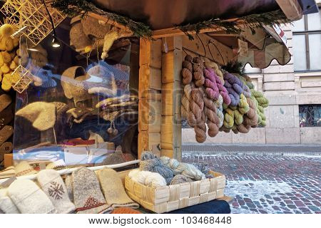 Knitted Goods Displayed For Sale At The Christmas Market In Riga