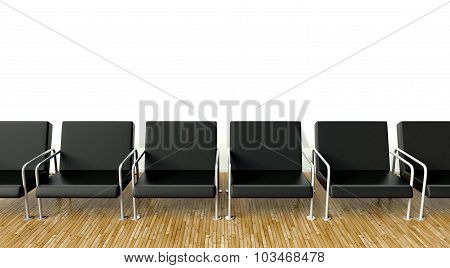 Office Interior With Armchairs In Waiting Room On White Wall