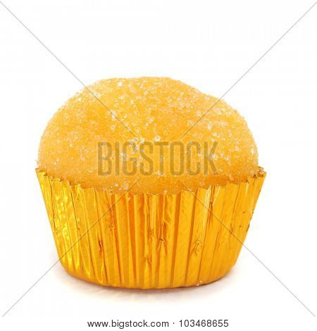 closeup of a yema de santa teresa, a typical confection of Spain, on a white background