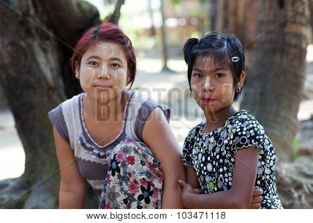 Chin Tribe Tatoed Girls, Myanmar