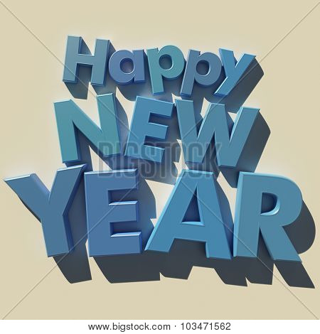 3D rendering of blue letters with the message Happy New Year