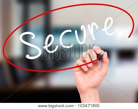 Man Hand writing Secure with marker on transparent wipe board.