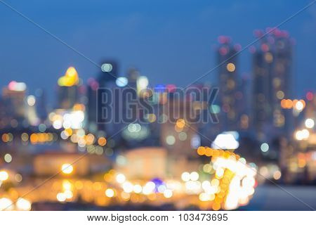 Multiple colours city blurred light background, at night