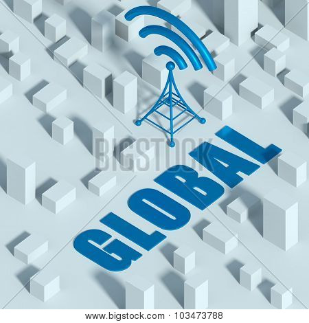 Business With Wireless Network And Wifi Tower In City, 3D Concept Of Communication