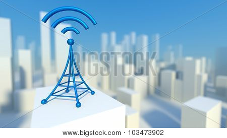 3D Wireless Network In City With Wifi Tower, Concept Of Communication