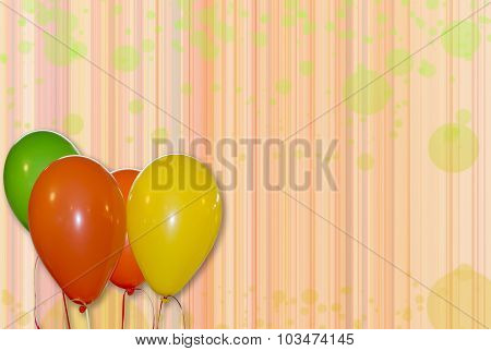 Ballons With Abstract Background