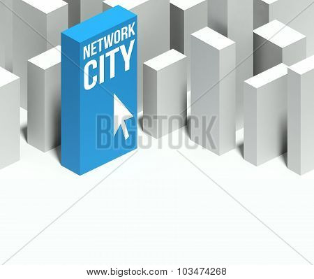 3D Network City Conceptual Model Of Downtown With Distinctive Skyscraper