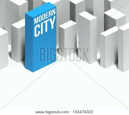 3D Modern City Conceptual Model Of Downtown With Distinctive Skyscraper