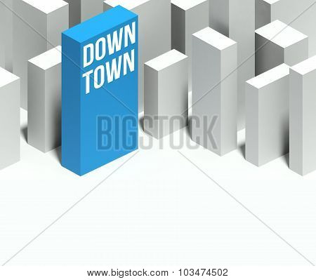 3D Downtown Conceptual Model Of City With Distinctive Skyscraper