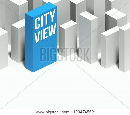 3D City View Conceptual Model Of Downtown With Distinctive Skyscraper
