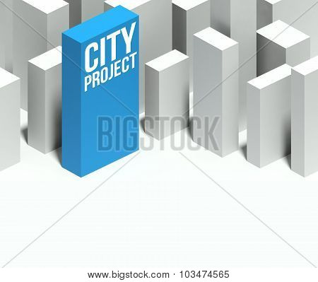 3D City Project Conceptual Model Of Downtown With Distinctive Skyscraper