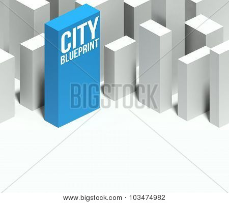 3D City Blueprint Conceptual Model Of Downtown With Distinctive Skyscraper