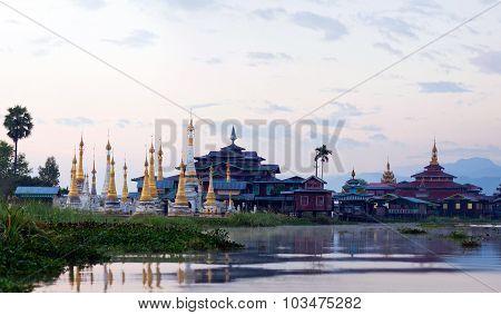 Ancient Pagoda And Monastery On Inle Lake, Shan State, Myanmar