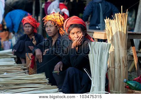 Pa-o Tribal Women In Shan State, Myanmar
