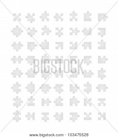 All type of jigsaw pieces in different positions isolated on white