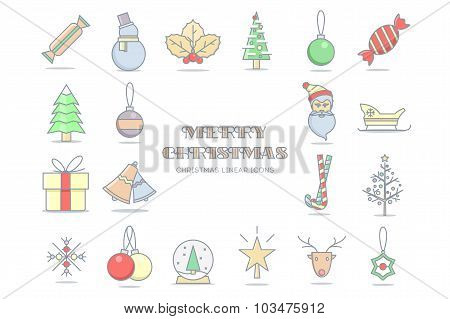 Christmas line color icons. Stock vector.