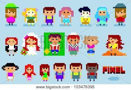 8-bit pixel people set. vector illustration