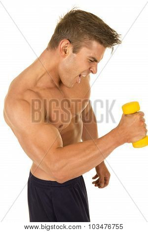 Shirtless Strong Man With Small Weight