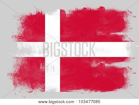 Flag Of Denmark Painted With Brush
