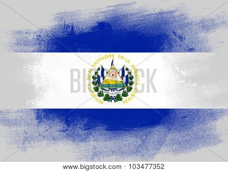Flag Of El Salvador Painted With Brush