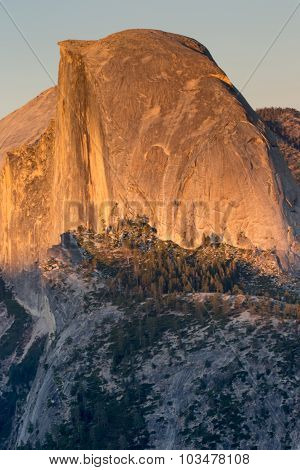 Half Dome close-up from Glacier Point. Sunset. Yosemite National Park, California, USA