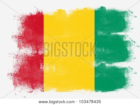 Flag Of Guinea Painted With Brush