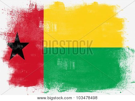 Flag Of Guinea Bissau Painted With Brush