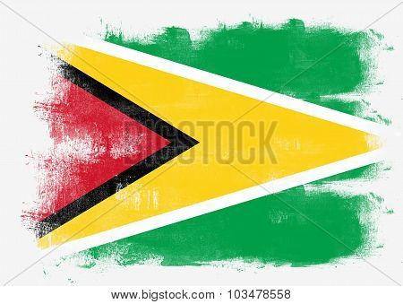Flag Of Guyana Painted With Brush