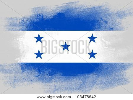 Flag Of Honduras Painted With Brush