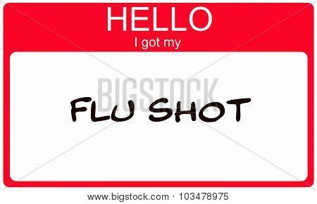 Hello I Got My Flu Shot Red Name Tag Sticker