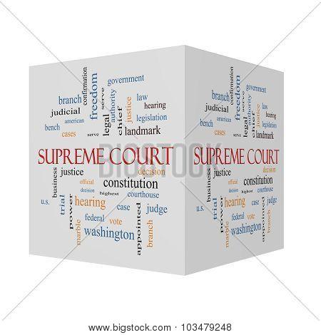 Supreme Court 3D Cube Word Cloud Concept