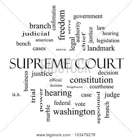 Supreme Court Word Cloud Concept In Black And White