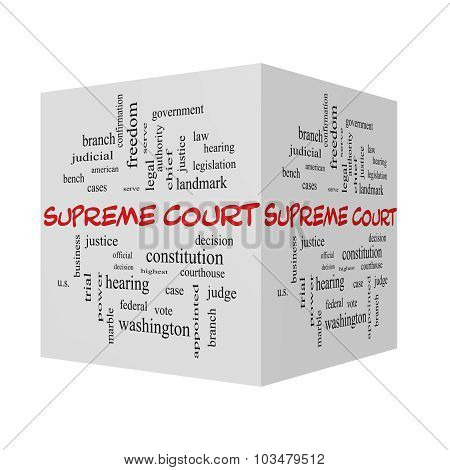 Supreme Court 3D Word Cloud Concept In Red Caps
