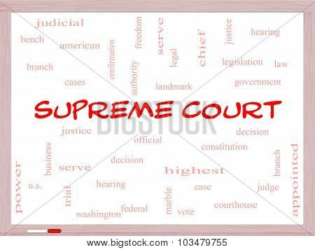 Supreme Court Word Cloud Concept On A Whiteboard