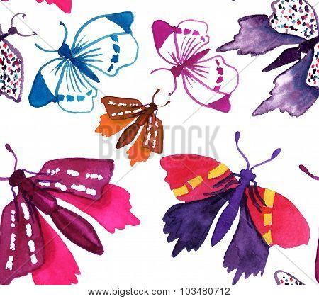 Seamless watercolor butterflies background pattern