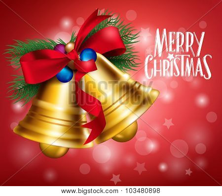 3D Realistic Merry Christmas Bells Hanging with Red Ribbon